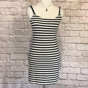 Betsey Johnson ruffled bandage dress, navy/white